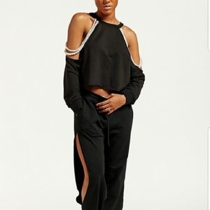 Tops - Black crop top with draping pearls